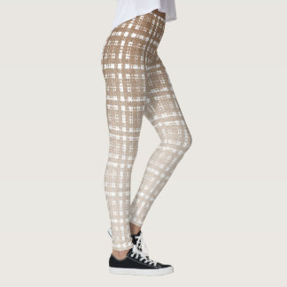 Tan Preppy Glen Check Plaid Fashion Leggings