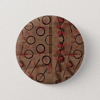 Tan Red Black Abstract 6 Cm Round Badge