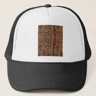 Tan Red Black Abstract Trucker Hat