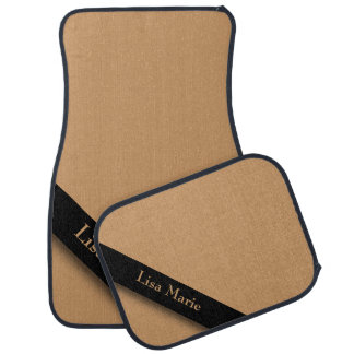 Tan Ribbon Diagonal Lined Custom Text Car and Truc Floor Mat