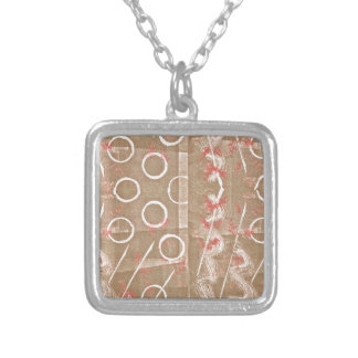 Tan Rust White Abstract Silver Plated Necklace