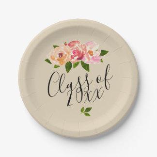 Tan rustic floral grad party paper plate