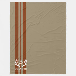 Tan Rustic Style Name | Monogram Fleece Blanket