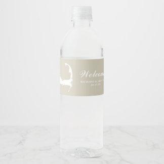 Tan Sand Cape Cod Map Wedding Water Bottle Label