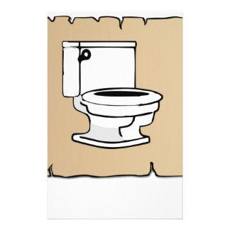 tan scroll toilet stationery design