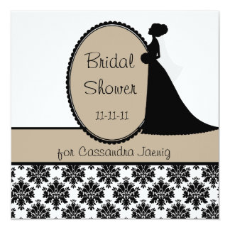 Tan Silhouette Bride Bridal Shower Invitation