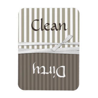 Tan Striped Dishwasher Clean and Dirty Magnet