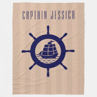 Tan Stripes With Navy Blue Nautical Boat Wheel Fleece Blanket
