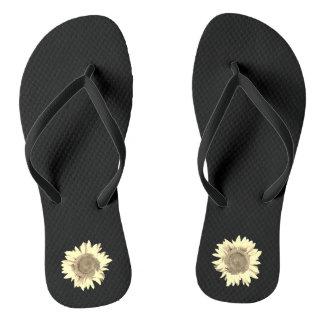 Tan Sunflower on Black Thongs
