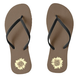 Tan Sunflower on dark brown Thongs