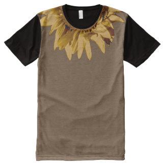 Tan Sunflower on Plain Tan/Black All-Over Print T-Shirt