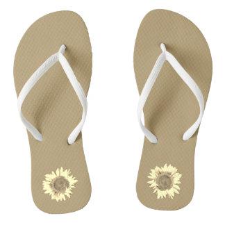 Tan Sunflower on Thongs