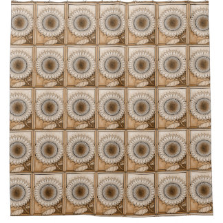 Tan Sunflower Shower Curtain