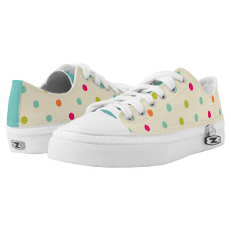 Tan, Teal and Pink Polka Dot Low Top Shoes Printed Shoes