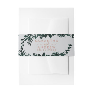 Tan typography Floral grey wedding Invitation Belly Band