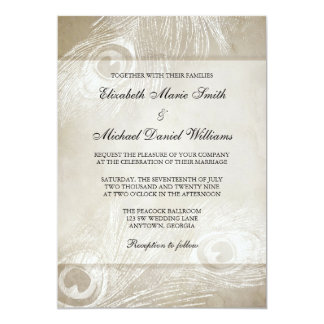 Tan Watercolor Peacock Feathers Wedding Card