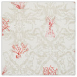 Tan Weathered Vintage Beach Ocean Red Coral Damask Fabric