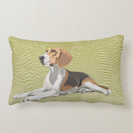 Tan White & Black Beagle with green fern Backdrop Lumbar Cushion
