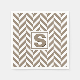 Tan White Herringbone Monogram Paper Serviettes