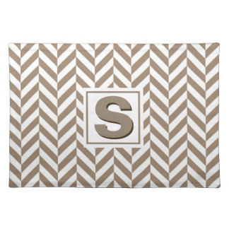 Tan White Herringbone Monogram Placemat