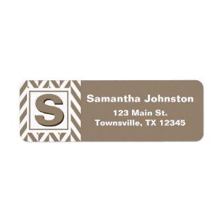 Tan White Herringbone Monogram Return Address Label