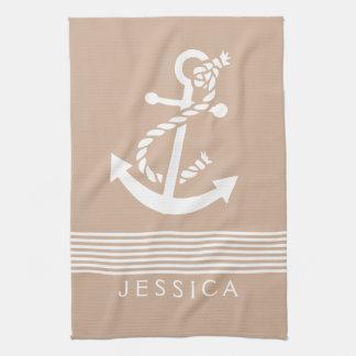 Tan & White Stripes With Nautical Anchor Tea Towel