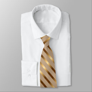 Tan with Gold Metallic Diagonal Stripes Tie