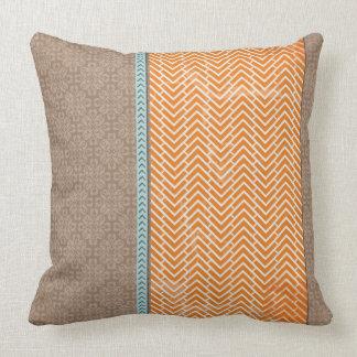 Tan with Orange Chevrons Throw Pillows
