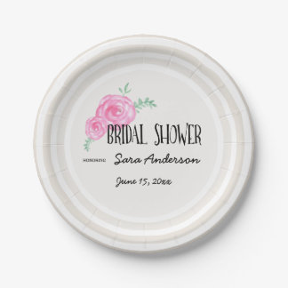 Tan With Pink Watercolor Flowers, Bridal Shower 7 Inch Paper Plate