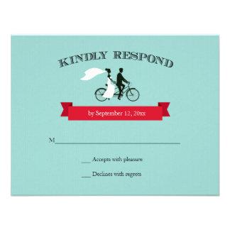 Tandem Bicycle Aqua Wedding RSVP Announcement