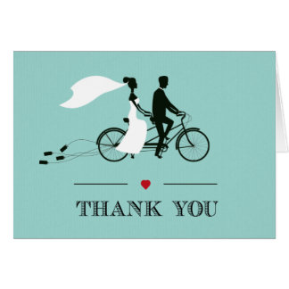 Tandem Bicycle Aqua Wedding Thank You Card