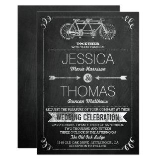 Tandem Bicycle Chalkboard Typography Wedding Card