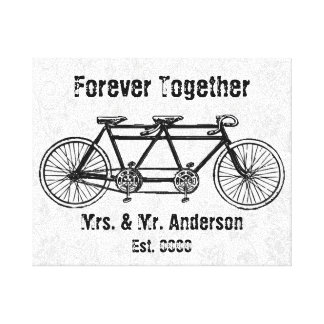 Tandem bicycle Forever together Canvas Print