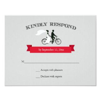 Tandem Bicycle Grey Wedding RSVP Card