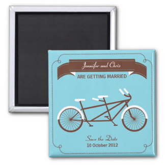Tandem Bicycle Modern Wedding Blue Save the Date Square Magnet