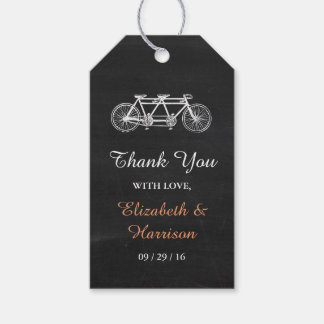 Tandem Bicycle On Chalkboard Wedding Favor Gift Tags