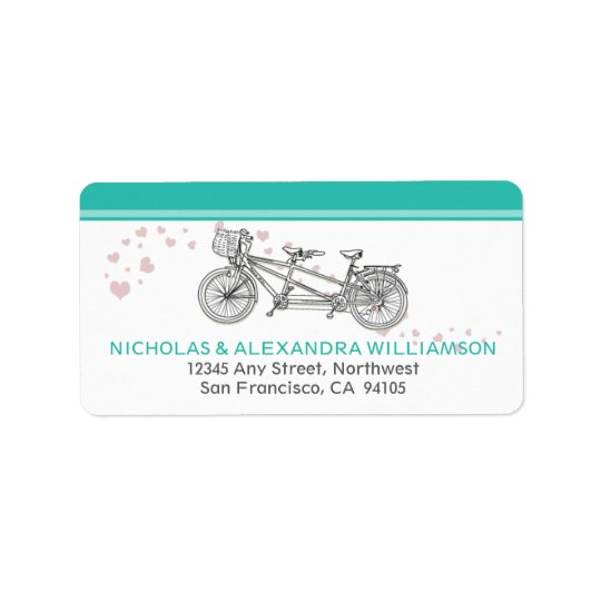 Tandem Bicycle Return Address Labels (aqua)