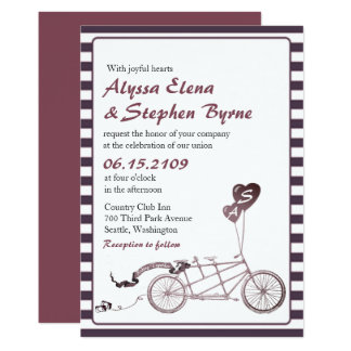 Tandem Bicycle Romantic Casual Wedding Invitation