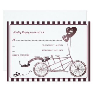 Tandem Bicycle Romantic Casual Wedding RSVP Card