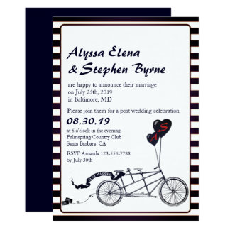 Tandem Bicycle Romantic Post Wedding Reception Card