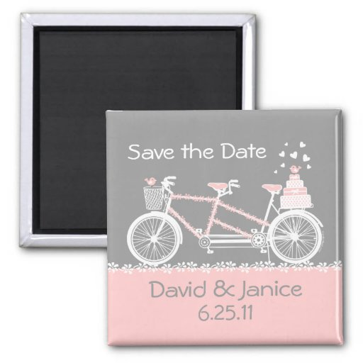 Tandem Bicycle Save The Date Magnet Refrigerator Magnet