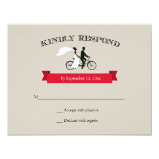 Tandem Bicycle Vintage Wedding RSVP Card