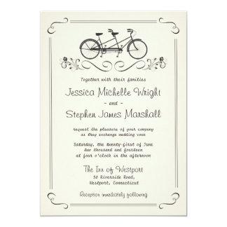 Tandem Bicycle Vintage White Wedding Card