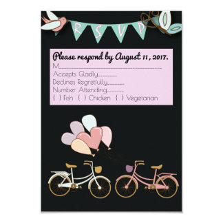 Tandem Bicycle Wedding Customizable RSVP card