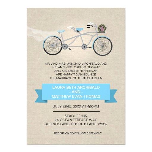 Tandem Bicycle Wedding Faux Linen Custom Announcement