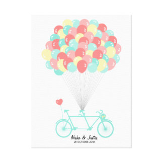 Tandem Bicycle Wedding Guestbook on Canvas Stretched Canvas Prints