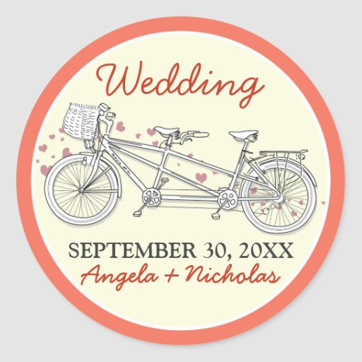 Tandem Bicycle Wedding Invitation Seal Coral