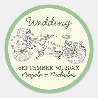 Tandem Bicycle Wedding Invitation Seal (green) Round Sticker