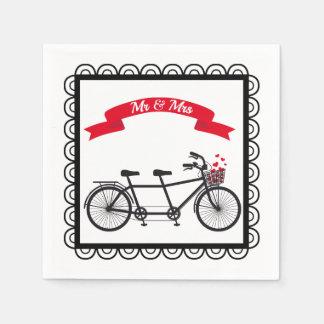 Tandem Bicycle Wedding Napkin Paper Napkins