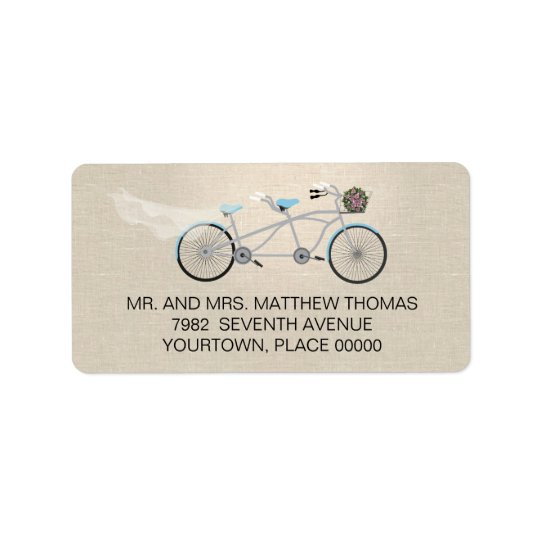 Tandem Bicycle Wedding Return Address Label